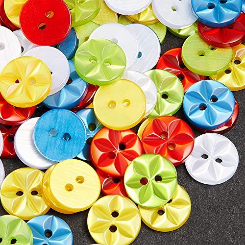 100 Piezas Botones de Estrella para Bebé Botones de Resina de Bebé de 2 Agujeros Botones Redondos Coloridos para Hecho a Mano Tejido a Mano Costura Confección de Ropa 14 mm, 5 Colores