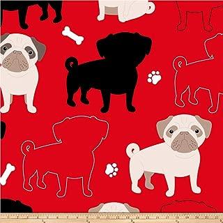 David Textiles Prints Oh My Pug-Ness Fleece, Red