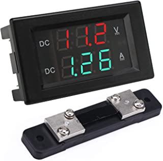 Voltage Current Display, DROK DC 4.5-100V Digital Voltmeter Ammeter Multimeter Panel, 0-50A Volt Tester Meter Amp Detector, LED Voltage Amperage Monitor Gauge with Shunt for Automotive Motor Battery
