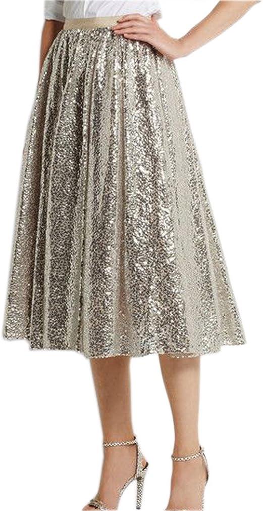 Lisong Women Tea Length Sequin Midi Party Evening Skirt