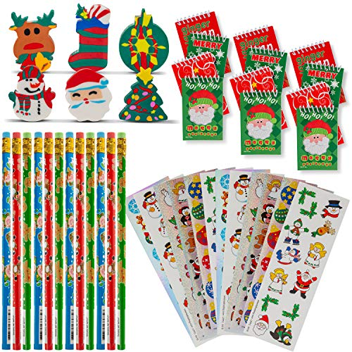Favonir Christmas Stationary Party Favor Collection 48 Set – Pencils – Notebooks – Assorted Novelty Stickers – 3D Rubber Xmas Character Erasers - Reward Prizes, Carnival Events