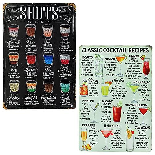 ANTHYTA 2 Stück Cocktail Schild Vintage Cocktail Schilder 20 * 30cm Schild Cocktailbar Blechschild Cocktail Metallschilder Cocktail Deko Classic Cocktail Recipe & Shots MENU für Bar Cafe Kneipe Küche