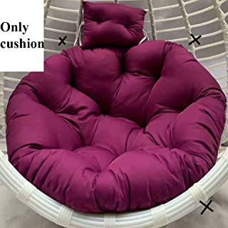 L&T Round Swing Chair Cushion Without Stand, Soft Padded Thick Single Nest Basket Hanging Egg Hammock Seat Cushion Pillow Garden-Purple Diameter 100cm(39inch)