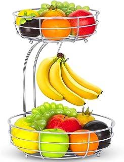 Corbeille à Fruits 2 étages - avec Support pour bananes - Panier a fruits a etages en métal décoration plan de travail - R...