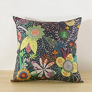 MinegRong Cojín almohada ropa estilo Patrón de impresión 45cm*45cm almohada y funda de almohada dos piezas,las flores, 45*45cm (con almohada)