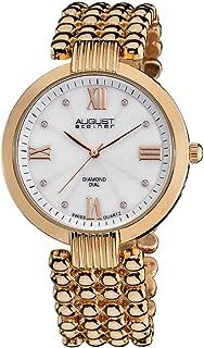 August Steiner Women's Swiss Fashion Diamond Watch - Sunburst White Dial With Roman Numerals on Rose Gold ToneStainless St...