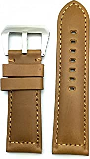 Panerai Style Watch Band by NEWLIFE | Brown, Solid, Smooth Genuine Leather Replacement Strap That Brings New Life to Any Watch (Men's Standard Length; 26mm Lug Width)