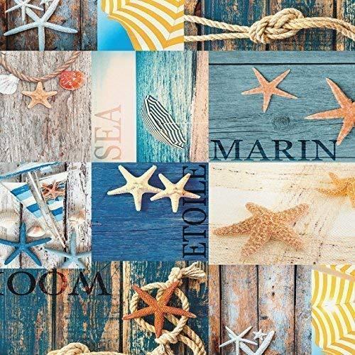 toile cirée nappe table au mètre Maritime SEALIFE étoile de mer bleu marine c147330 taille SÉLECTIONNABLE en carré rond OVAL - Bariolé, 140 x 200 cm oval