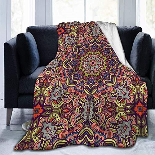 Manta de franela con diseño tribal étnico bohemio, manta de forro polar ultra suave para dormitorio, viajes, cálida para todas las estaciones, suavidad y comodidad de 127 x 152 cm