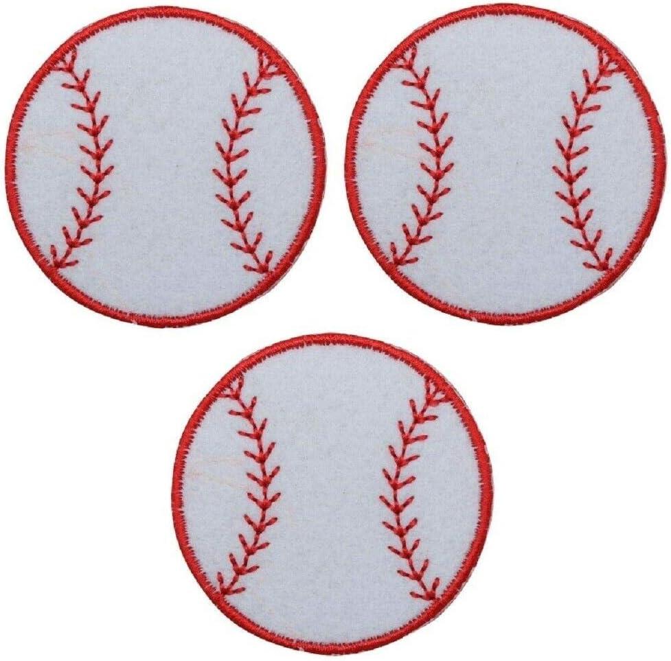 Baseball Applique Patch - Sports Badge Felt Iron 3-Pack depot on 2