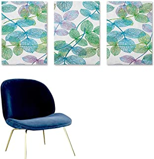 Agoza Floral Canvas Pictures Flowers Leaves Ivy Vein Like Rainbow Ombre Colored Art Print Oil Canvas Painting Wall Art 3 Panels 24x35inch Pale Blue Fern Green Purple White