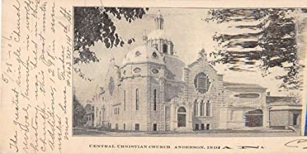 Anderson Indiana Central Christian Church Street View Antique Postcard K84089