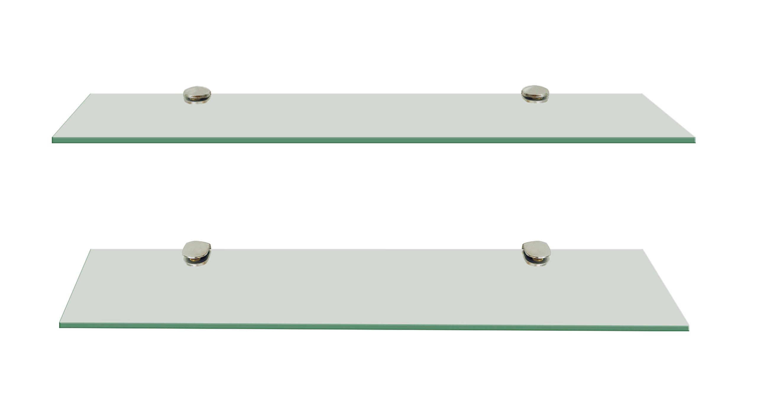 set of 2 floating clear glass shelves storage bathroom kitchen shelf fixings