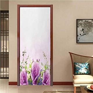 Flower Door Sticker Wallpaper Spring Cabbage Flowers in Fragrant Bouquet with Partially Shaded Color Romance Fashion and Various Pattern Lavender Green W35.4 x H78.7 INCH