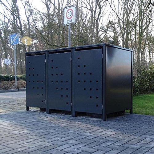 *3 Mülltonnenboxen Modell No.3 für 240 Liter Mülltonnen / komplett Anthrazit RAL 7016 / witterungsbeständig durch Pulverbeschichtung / mit Klappdeckel und Fronttür*