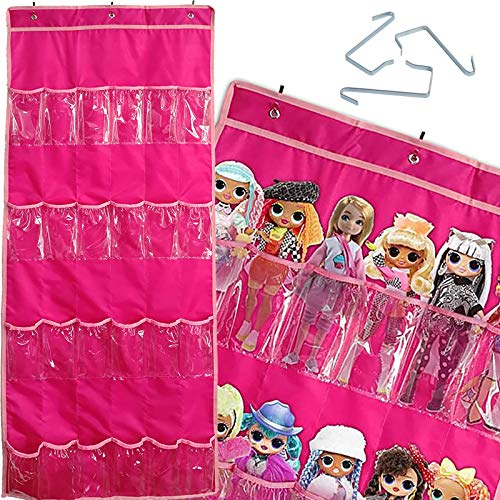 Alycwint 24 Bolsa de Almacenamiento de Juguetes de Juguetes Colgantes de Bolsillo para niños Juguetes muñeca Barbie LOL Bolsa