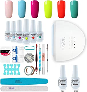 Gel Nail Polish Starter Kit, Speed Curing 48W Professional LED lamp Base Top Coat Set & 6 Colors, Manicure Tools Popular Nail Art Designs by Vishine #C005