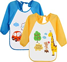 Leyaron 2 Pack Unisex Infant Toddler Baby Waterproof Sleeved Bib, 6 Months-3 Years