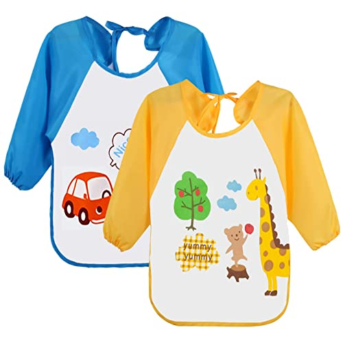 c704bd52 Leyaron 2 Pack Unisex Infant Toddler Baby Waterproof Sleeved Bib, 6 Months-3  Years