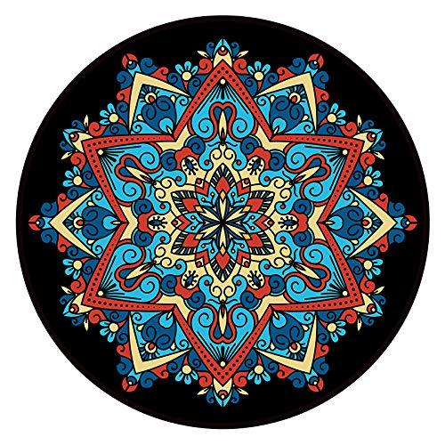 SHGDDYSB - Tapiz redondo para la playa, hippie, mandala, tapiz de pared, elefante, boho, hippie india, toalla de playa, mandala/boho, redondo, esterilla de yoga, 60 cm