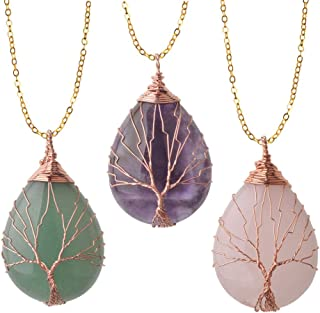 ZHEPIN Vintage Tree of Life Wire Wrapped Copper Teardrop...