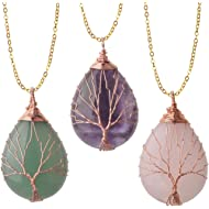 ZHEPIN Vintage Tree of Life Wire Wrapped Copper Teardrop Natural Gemstones Pendant Necklace,with...