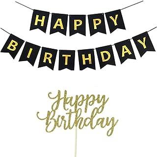 YOFEY1 Happy Birthday Banner, Happy Birthday Cake Topper, Black and Gold