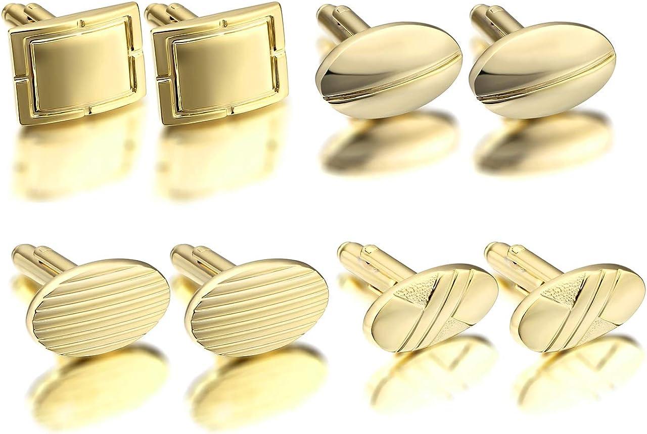 PiercingJ 4 Pairs Set Mens Cuff Links Polished Finish Cufflinks Stainless Steel Cuff Link Mens Classic Modern GQ French Tuxedo Dress Shirt Studs Cufflinks for Men Business Wedding + Gift Box