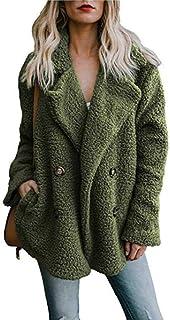Chaquetas de Las Mujeres Abrigo de Invierno Cárdigans de Las Mujeres Damas Jumper cálido Fleece Abrigo de Piel sintética S...