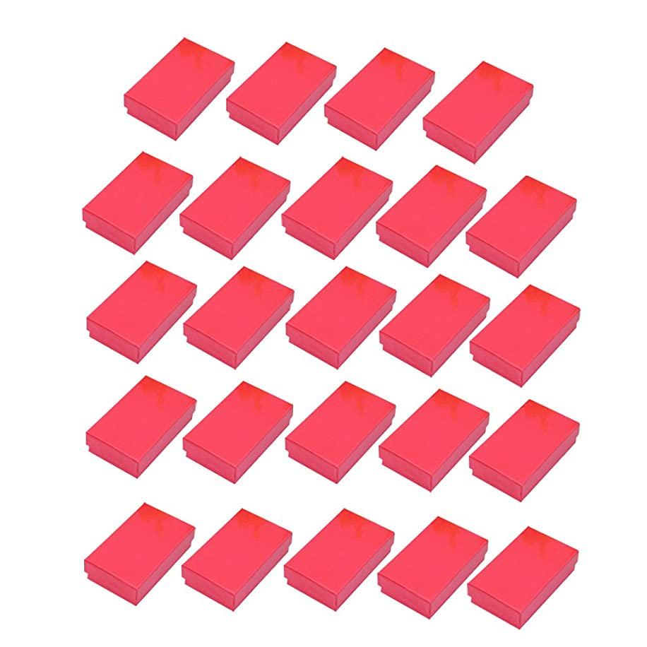 森説得力のある関税Perfk 24個長方形 全5色 ダンボールボックス ジュエリーセット ネックレス イヤリング 収納ボックス 小物入れ ジュエリーケース - レッド
