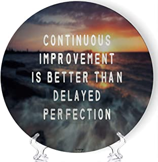 ALUONI Custom Plate, Inspirational Quote Continuous Improvement is Better Than Delayed Perfection,Ceramic Decorative Plate...
