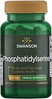 Swanson Phosphatidylserine Memory Brain and Cognitive Health Support Phospholipid Triple-Strength Complex Supplement 300 m...