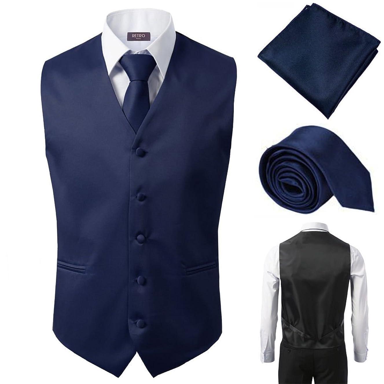 3 Pcs Vest + Tie + Hankie Fashion Men's Formal Dress Suit Slim Tuxedo Waistcoat Coat Navy