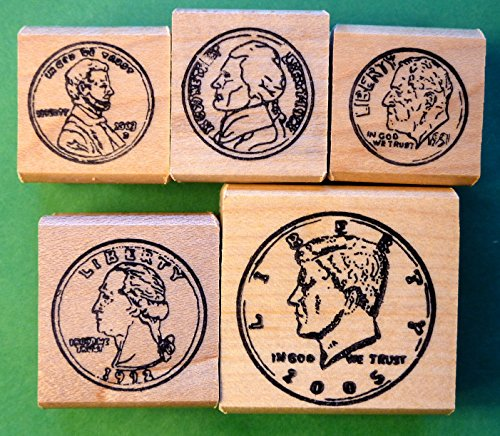 Coin Rubber Stamp Set of 5, Heads View, Teacher's Set