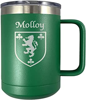 Molloy Irish Coat of Arms Stainless Steel Green Travel Mug with Handle
