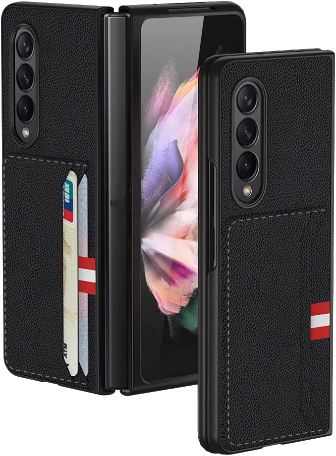 XNDD for Samsung Galaxy Z Fold 3 Case with PU Leather Wallet Case Cover Flip Protective Phone Case (Black)