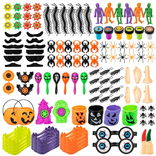 COVTOY Halloween Party Favors for Kids, Halloween Goodie Bag Fillers Treat Toys, Halloween Carnival Prizes Stuff Toys for 2 3 4 Year Old Boys Girls (124 PCS