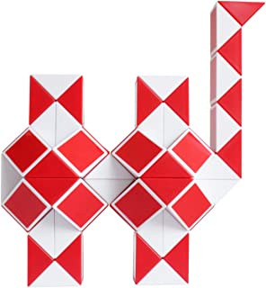 Mipartebo Magic Snake Cube Twist Puzzles 72 Wedges Brain Teaser Toys White and Red