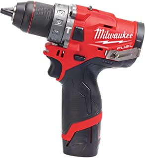 Milwaukee Taladro percutor Milwauke Fuel M12 FPD-202X – 2 baterías 12 V 2.0 Ah – 1 cargador C12C 4933459802, Black-red
