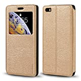 Cubot X16 Case, Wood Grain Leather Case with Card Holder