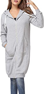 Romacci Women's Casual Zip up Hoodies Pockets Tunic Sweatshirt Long Hoodie Outerwear Jacket Dress Plus Size