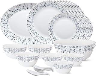 Larah by Borosil - Tiara Series, Pulse, 33 Pcs, Opalware Dinner Set, White