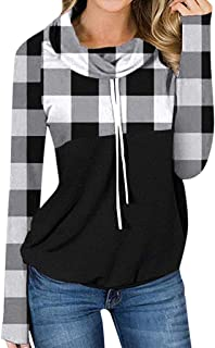 Moilant Tops for Womens Plaid Stitching T Shirt Long Sleeve Patchwork Collar Pullover Blouse