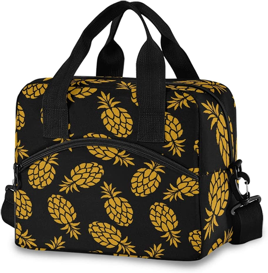 Max 51% OFF Golden Pineapple Lunch Bag Free Shipping New with Detachable for Gi Strap Shoulder