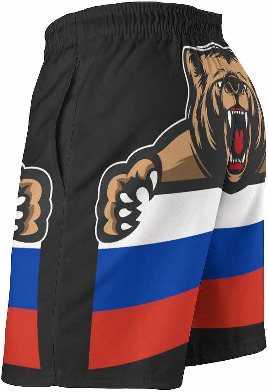 Russia Flag Bear Men's Summer Quick Dry Swim Trunks Casual Board Shorts Beachwear for Boys Men
