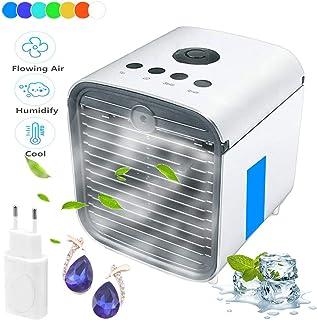 Nifogo Aire Acondicionado, Aire Refrigerador, Portatil Climatizador Evaporativo, 3-en-1 Mini Ventilador Humidificador Purificador de Aire, a Prueba de Fugas, Nuevo Papel de Filtro (Adaptador)