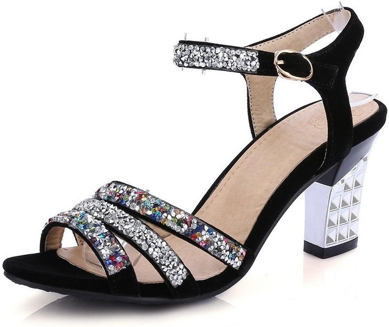 WeenFashion Women's Imitated Suede Open Toe High Heels Buckle Assorted color Sandals