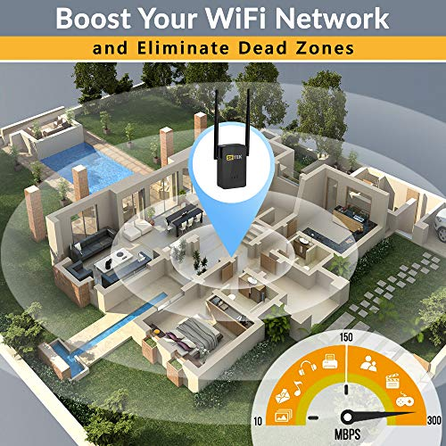 Superboost WiFi Extender Signal Booster Long Range up to 2500 FT, 300 MBPS Wireless Internet Amplifier - Covers 15 Devices with 2 External Advanced Antennas, 5 Working Modes, LAN/Ethernet (Black)