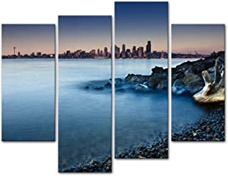 Wall Art Decor Poster Painting On Canvas Print Pictures 4 Pieces Dreamy Seattle Skyline from Rocky Beach with Pebbles Rocks Tree Log Seascape Coast Picture for Home Decoration Living Room Artwork