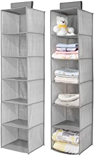 mDesign Long Soft Fabric Over Closet Rod Hanging Storage Organizer with 6 Shelves for Child/Kids Room or Nursery - Herring...
